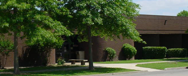 Front of Westbrook Library on the Connors State College Campus in Warner